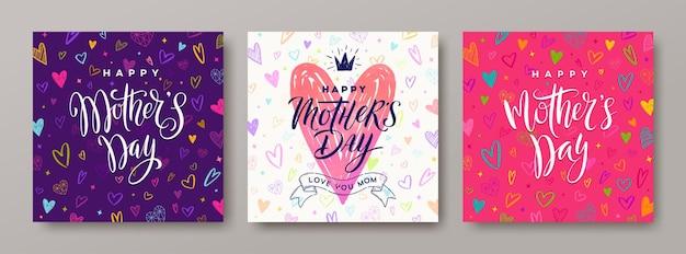 Conjunto de tarjeta de felicitación del día de las madres