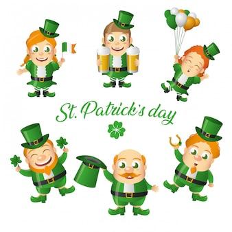 Conjunto de tarjeta de felicitación de duende irlandés, día de san patricio
