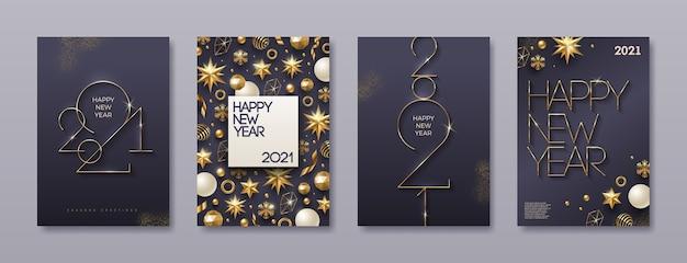 Conjunto de tarjeta de felicitación con logo dorado de año nuevo. fondo con decoración navideña.
