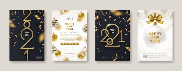 Conjunto de tarjeta de felicitación con logo dorado de año nuevo. se puede utilizar para portada, volante o póster.