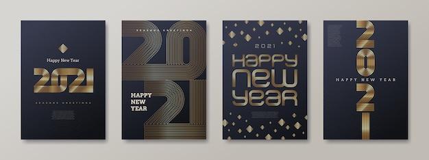 Conjunto de tarjeta de felicitación con logo dorado de año nuevo. signo de oro de año nuevo, ilustración.