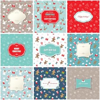 Conjunto de tarjeta de felicitación navideña