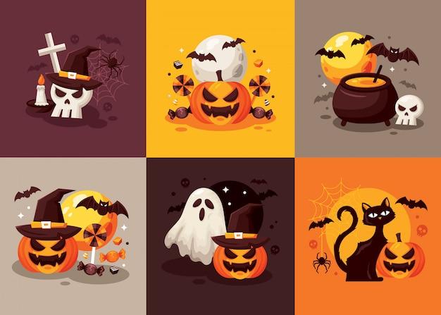 Conjunto de tarjeta de feliz halloween