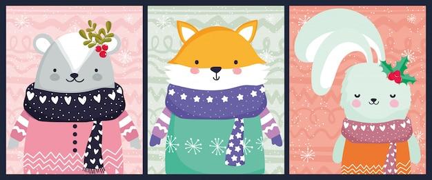 Conjunto de tarjeta de feliz navidad celebración zorro oso y conejo