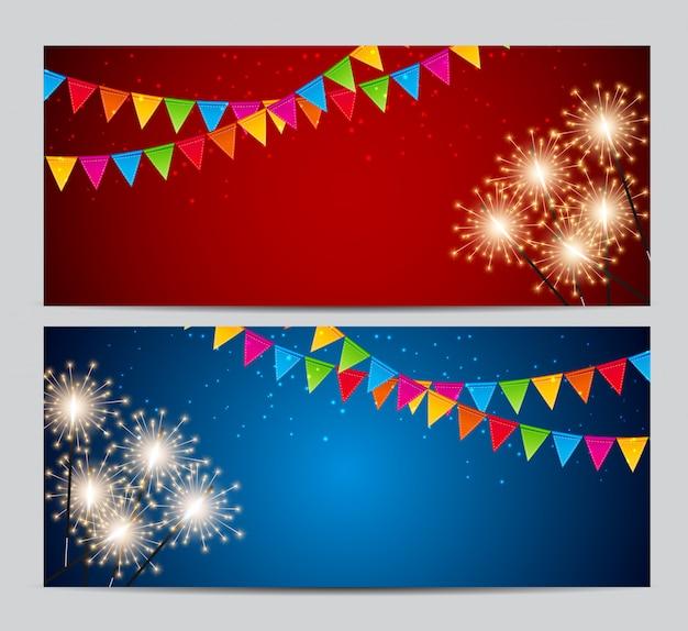 Conjunto de tarjeta de fiesta abstracta fiesta. ilustración