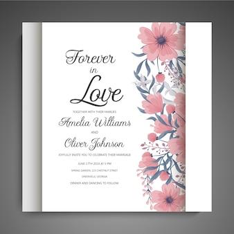 Conjunto de tarjeta con flor rosa, hojas. concepto de adorno de boda. cartel floral, invitar.