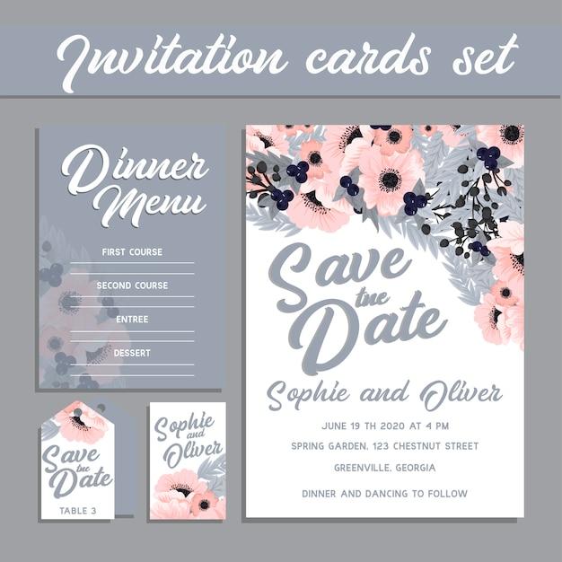 Conjunto de tarjeta con flor rosa, hojas. concepto de adorno de boda.
