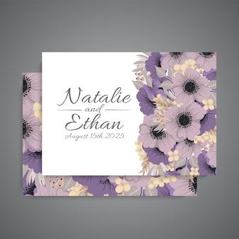 Conjunto de tarjeta con flor rosa,