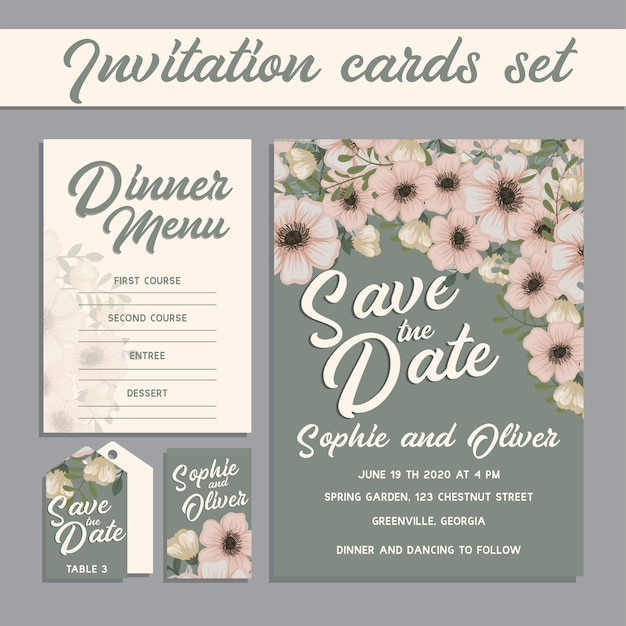 Conjunto de tarjeta con flor rosa.
