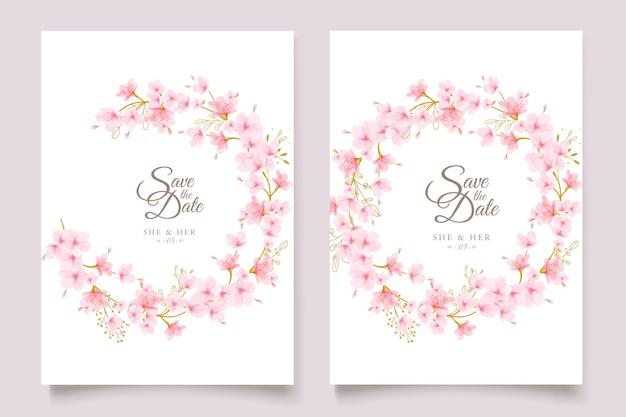 Conjunto de tarjeta floral de flor de cerezo acuarela