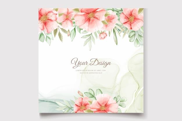 Conjunto de tarjeta floral y hojas de verano acuarela