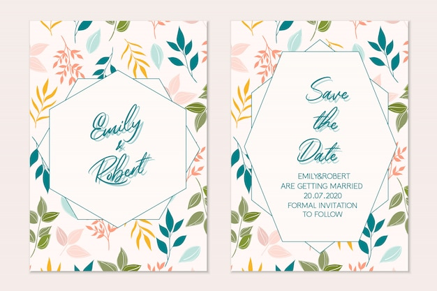 Conjunto de tarjeta floral. tarjeta botánica invitación de boda