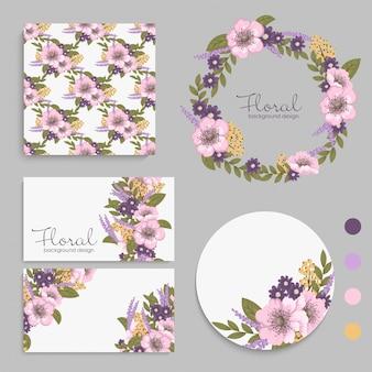 Conjunto de tarjeta con flores de color púrpura, hojas.
