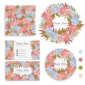 Conjunto de tarjeta con flores, hojas. adorno de boda invitación floral, cartel, invitación.