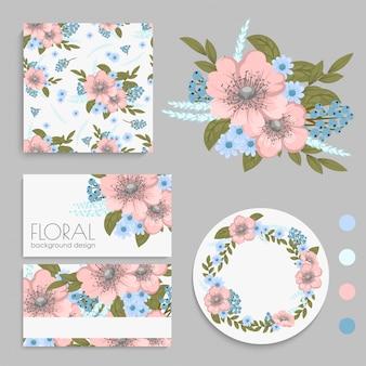 Conjunto de tarjeta con flores, hojas. adorno de boda