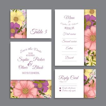 Conjunto de tarjeta con flores, hojas. concepto de adorno de boda.