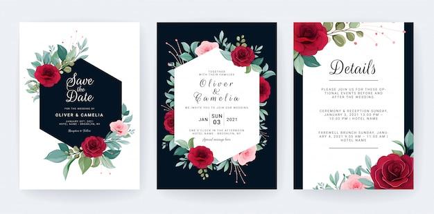 Conjunto de tarjeta con flores. plantilla de invitación de boda azul marino con marco floral
