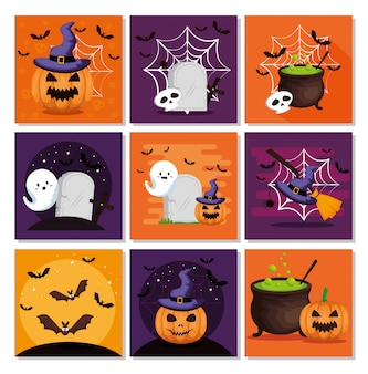 Conjunto de tarjeta de halloween