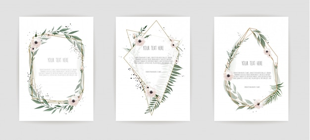 Conjunto de tarjeta con hojas y marco geométrico.