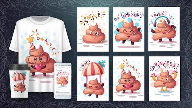 Conjunto de tarjeta de ilustración animal de dibujos animados de caca y merchandising.