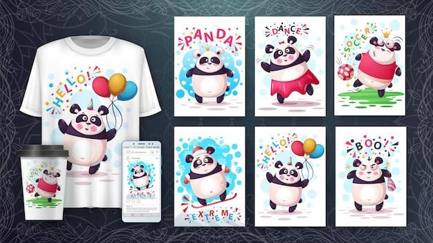 Conjunto de tarjeta de ilustración animal de dibujos animados panda y merchandising.