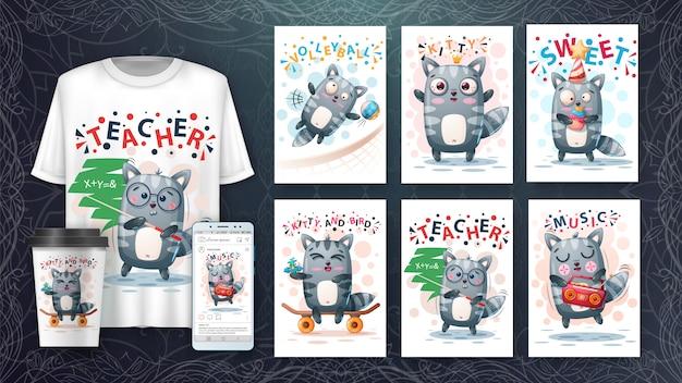 Conjunto de tarjeta de ilustración animal lindo mapache y merchandising.