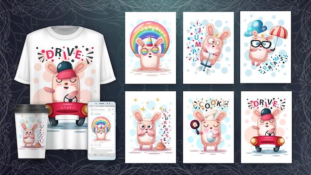 Conjunto de tarjeta de ilustración animal lindo y merchandising.