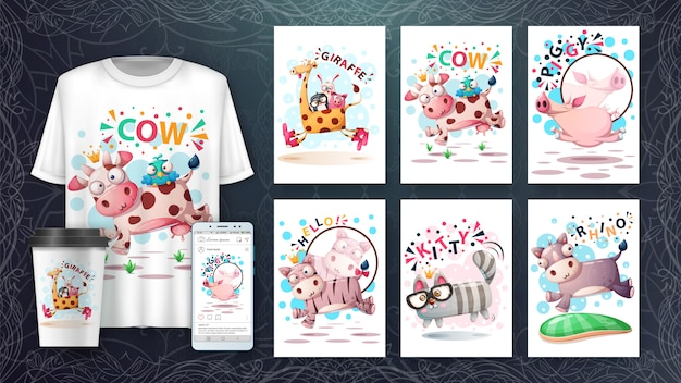 Conjunto de tarjeta de ilustración de animales de salto lindo y merchandising.
