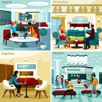 Conjunto de tarjeta interior del hotel