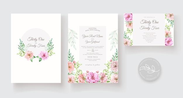 Conjunto de tarjeta de invitación acuarela floral y hojas
