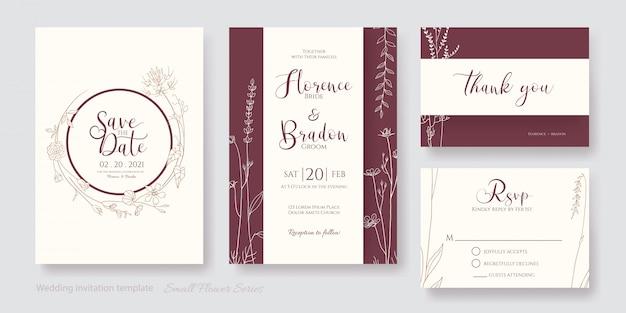 Conjunto de tarjeta de invitación de arte de línea de flores, guardar la fecha, gracias, plantilla de rsvp.