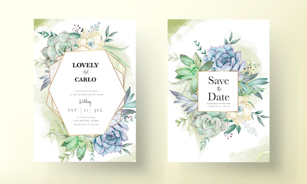 Conjunto de tarjeta de invitación de boda acuarela hermosa flor suculenta