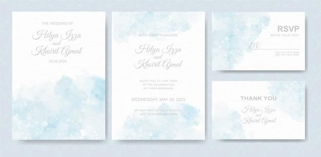 Conjunto de tarjeta de invitación de boda acuarela