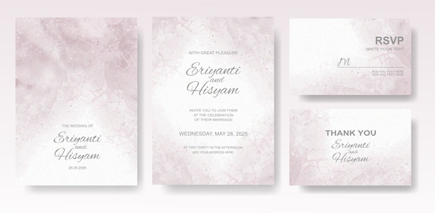 Conjunto de tarjeta de invitación de boda en acuarela