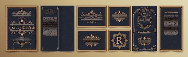 Conjunto de tarjeta de invitación de boda con adornos florece