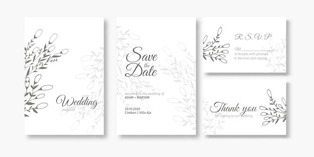 Conjunto de tarjeta de invitación de boda con bayas de belleza y flores abstractas doodle dibujado a mano estilo ornamento decoración de fondo maqueta elegante plantilla ilustración vintage marco