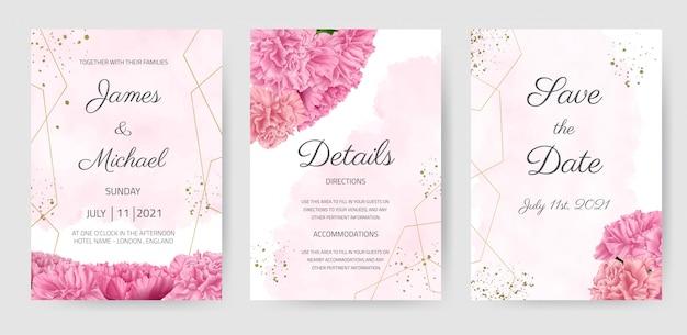 Conjunto de tarjeta de invitación de boda clavel rosa flor hermosa plantilla floral