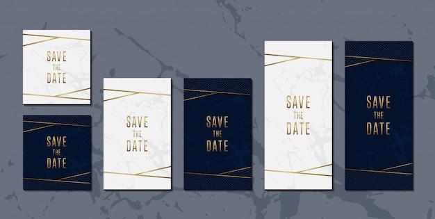 Conjunto de tarjeta de invitación de boda de elegante azul dorado