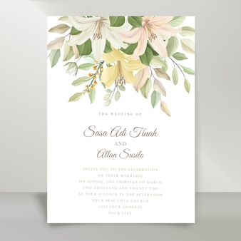 Conjunto de tarjeta de invitación de boda elegante lirio