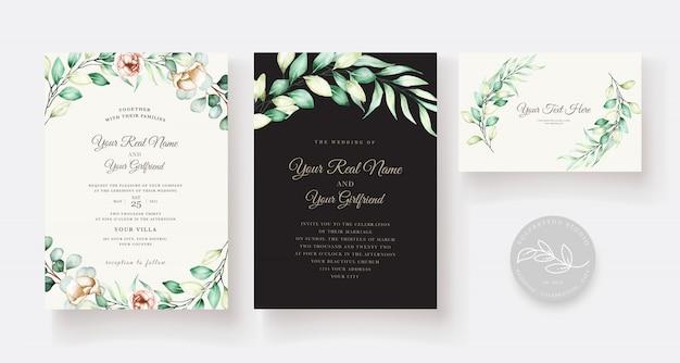 Conjunto de tarjeta de invitación de boda de eucalipto acuarela