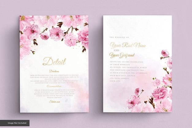 Conjunto de tarjeta de invitación de boda de flor de cerezo acuarela