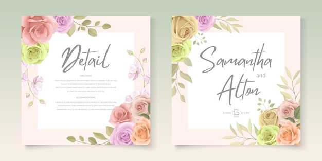 Conjunto de tarjeta de invitación de boda floral colorido suave elegante