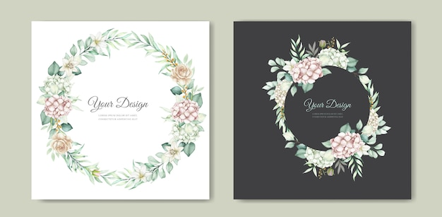 Conjunto de tarjeta de invitación de boda floral dibujado a mano acuarela