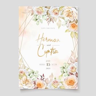 Conjunto de tarjeta de invitación de boda floral dibujado a mano romántico