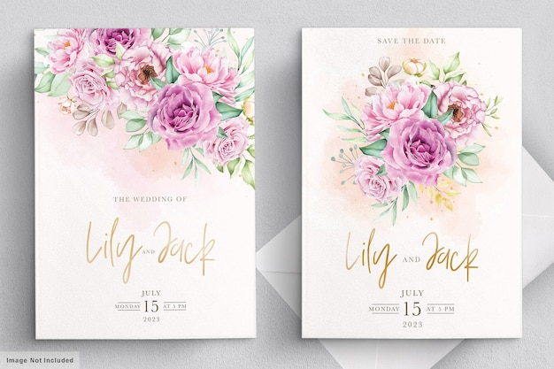 Conjunto de tarjeta de invitación de boda floral dibujado a mano