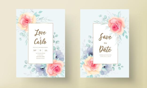 Conjunto de tarjeta de invitación de boda floral elegante