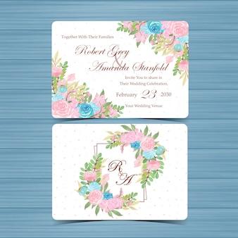 Conjunto de tarjeta de invitación de boda floral con hermosas flores azules y rosas