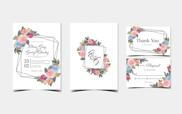 Conjunto de tarjeta de invitación de boda floral con hermosas flores de colores