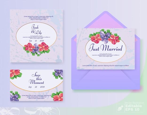 Conjunto de tarjeta de invitación de boda floral romántica