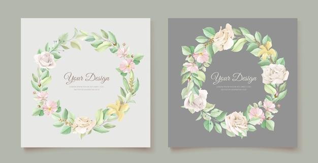 Conjunto de tarjeta de invitación de boda floral verde suave